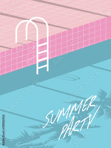 summer pool party invitation flyer poster template banner with