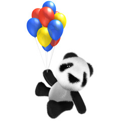 3d Funny cartoon baby panda bear character flying with some balloons!