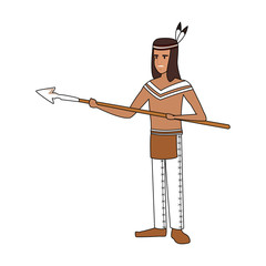 American indian with spear vector illustration graphic design