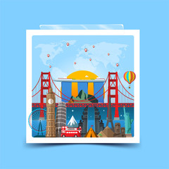 Time to travel concept. Photo frame with miniature places and landmarks. Vector illustration. Worldwide traveling.