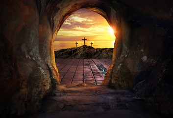 Empty tomb with three crosses Wall mural