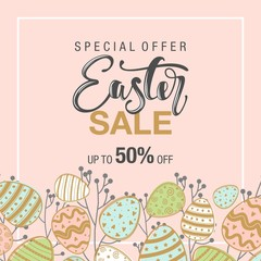 Easter sale background with beautiful flowers. Vector illustration. Frame with colors and words.