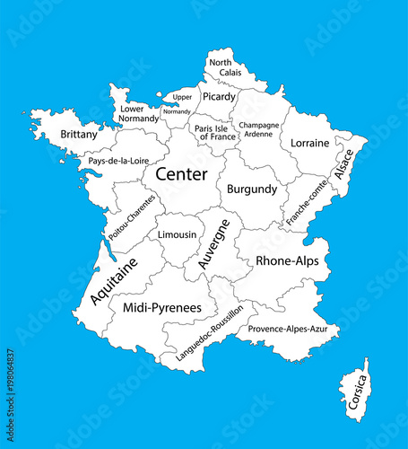Editable blank vector map of France Vector map of France isolated