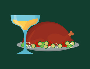 Champagne and roasted turkey