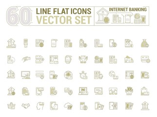 Vector graphic set. Icons in flat, contour, thin and linear design. Internet banking. Modern technology.Simple icon on white background.Concept illustration for Web site, app. Sign, symbol, emblem.