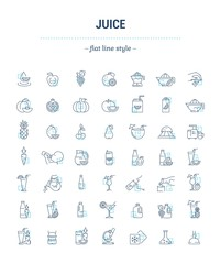 Vector graphic set. Icons in flat, contour, thin, minimal and linear design. Illustration of juice. Glass, bottle and package. Natural, product. Simple isolated concept sign and symbol for Web site.