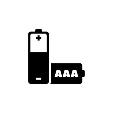 AAA Battery. Flat Vector Icon. Simple black symbol on white background