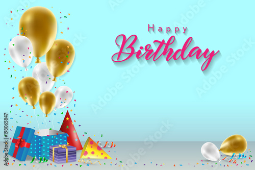 Happy Birthday Background Template With Balloons Gift Boxes And Confetti Design For Poster