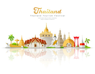 Thailand tourism festival building landmark on shadow isolated on white background, vector illustration