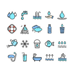Pool and Water Signs Color Thin Line Icon Set. Vector