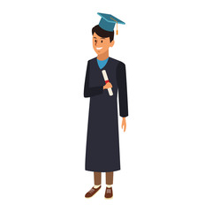 Young man student with graduation gown vector illustration graphic design