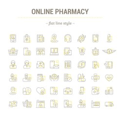 Vector graphic set.Icons in flat, contour,thin, minimal and linear design. Online pharmacy. Mobile medical advice. Simple isolated icons. Concept illustration for Web site, app. Sign, symbol, element.