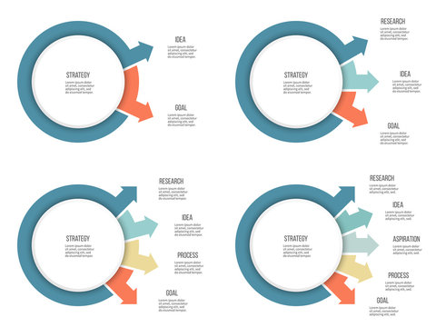 Business infographics. Organization chart with 2, 3, 4, 5 options, arrows. Vector template.