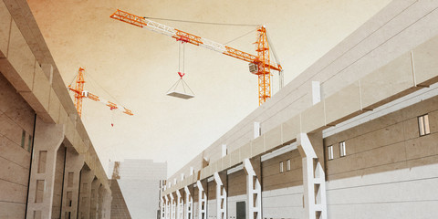 3d illustration of construction cranes build industrial hall. 3D modeling