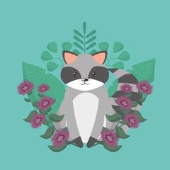 Raccoon cartoon around flowers