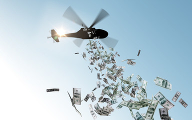 Garden Poster Helicopter finance, economy and monetary policy concept - helicopter dropping money in sky