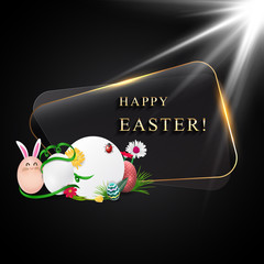 Happy easter image vector with glowing frame. Modern happy Easter background with colorful eggs, and ear bunny. Template Easter greeting card.