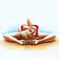 girl in red bikini sunbathing on her back, digital illustration