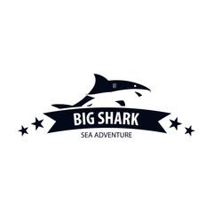 Emblem or logo with Shark. Vector illustration