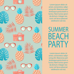 Summer party invitation. Tropical palm leaves, cute pineapple, sunglasses and retro photo camera. Paper cut style, pastel colors.