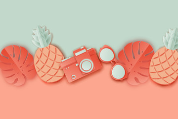 Summer background in pastel colors. Paper cut retro photo camera, sunglasses, pinapple and tropical palm leaves. Summer vacation concept