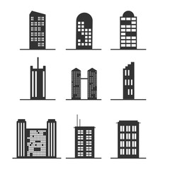 Set of Modern Office Tall Building for Icon, Infographic design.