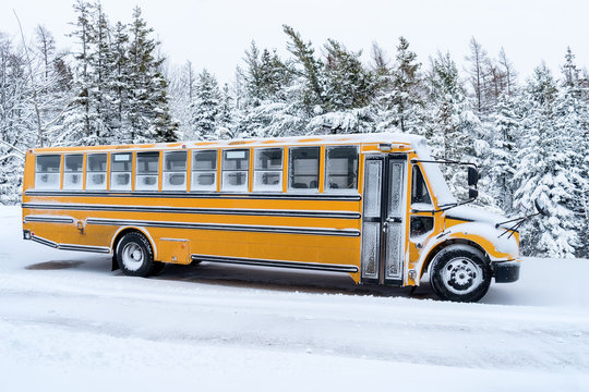 School bus dusted with light covering of snow.