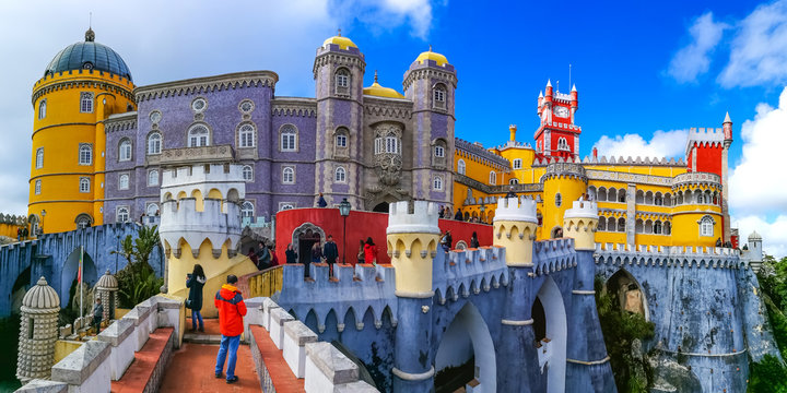Panoramic view of the historical Pena Palace of Sintra in Lisbon, Portugal