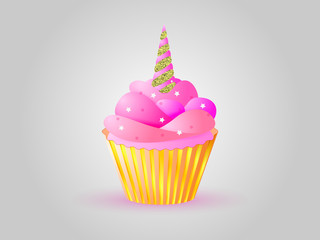 Cupcake with pink cream and horn unicorn with gold color. Vector illustration