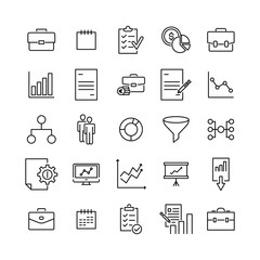 Simple set of strategy related outline icons.