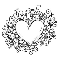 Romantic heart decorated flowers, buds, leaves. Heart decorated floral composition. Black and white illustration