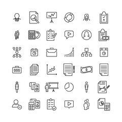 Simple set of business related outline icons.
