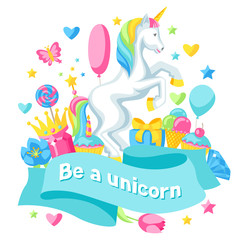 Print or card with unicorn and fantasy items