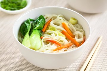 Vegetarian Asian rice noodle soup with bok choy, carrots and spring onion, photographed with natural light (Selective Focus, Focus in the middle of the soup)