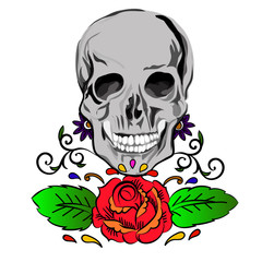 Skull with roses drawn in tattoo style.