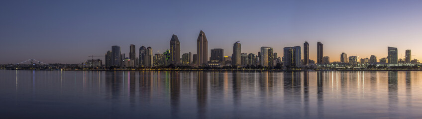 San Diego skyline over the bay at dawn