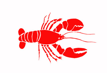 Graphical red crab isolated on white background,vector sea-food illustration,tattoo