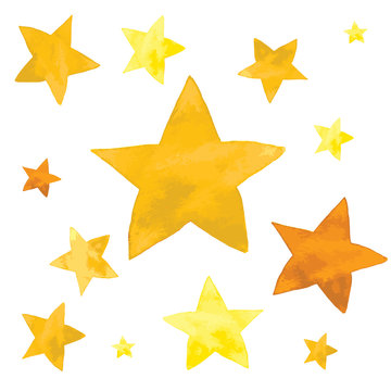 Watercolor illustration of yellow stars set