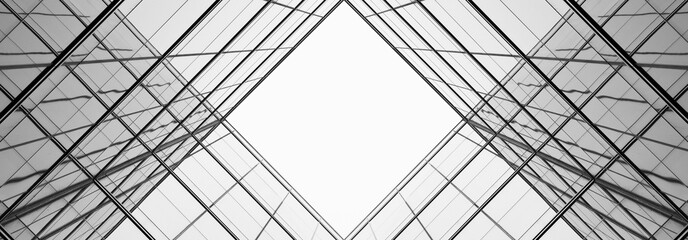 architecture of geometry at glass window - monochrome Wall mural