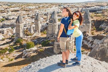 Women friends travel at famous tourist destination in Cappadocia, Turkey