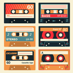 Vintage cassette set. Retro audio cassettes in colour.