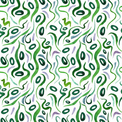 Green alga seamless pattern with natural watercolor illustrations of seaweed on the paper. Amazing for textile, wallpapers, greetings card, web, backgrounds, labels.