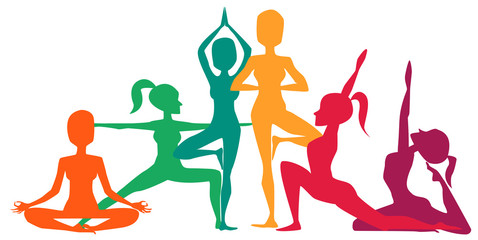 Colorful yoga positions asanas, fitness concept. Vector illustration