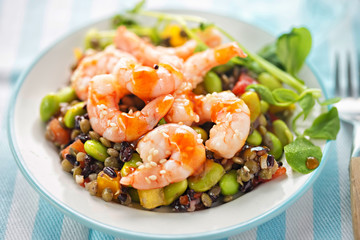 Sesame king prawn and rice salad with teriyaki dressing