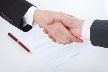 Business handshake. Business handshake and business people concept. Successful Business woman smiling friendly