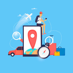 World Travel. Planning summer vacations. Airport. Holiday, journey. Tourism and vacation theme. Flat design vector illustration.