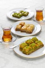 turkish traditional desserts, baklava variations & tea