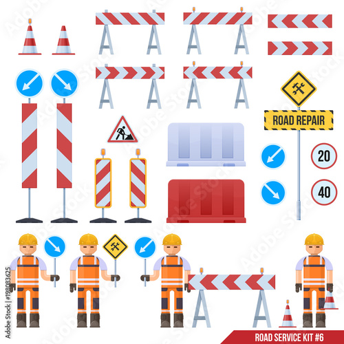 Set Of Road Barriers Road Signs Road Warning Signs Road Worker