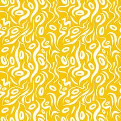 Yellow alga seamless pattern with natural watercolor illustrations of seaweed on the paper. Amazing for textile, wallpapers, greetings card, web, backgrounds, labels.