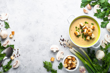 Mushroom Soup puree with croutons